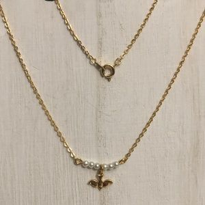 Dainty Gold Tone Dove Necklace
